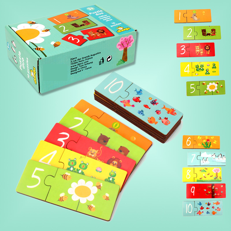 1Set Educational Toys Infant Learning Enlightenment Toys For Kids Start Training Puzzle Card Number  Set Pair Puzzle Baby Gift