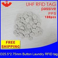 Etiqueta de botão de lavanderia uhf rfid 915mhz 868mhz 860-960 mhz estrangeiro h3 100pcs frete grátis passiva rfid pps calor e água oposição tag