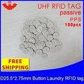 UHF RFID кнопка для стирки тег 915 МГц 868 МГц 860-960 МГц alien H3 100 шт. Бесплатная доставка пассивная RFID PPS термо-и водостойкая бирка