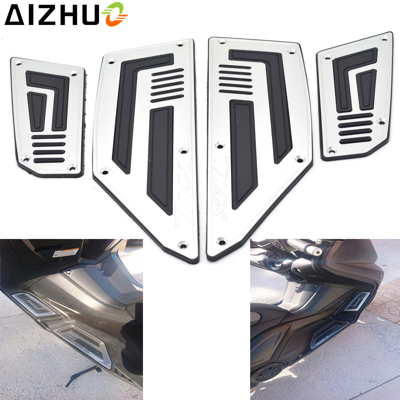 TMAX LOGO Motorcycle Foot Plate Foot Rest CNC Aluminum Motorbike Footrest For Yamaha TMAX 530 TMAX530  2012 2013 2014 2015 2016