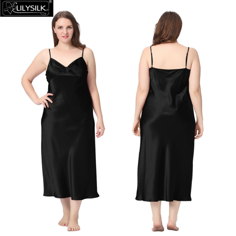 1000-black-22-momme-gathered-bowknot-neck-silk-nightgown-plus-size-01