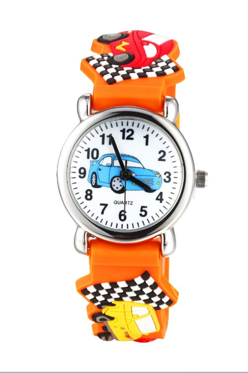 Orange Kids Cartoon Watch Cute Car Children's Watches Waterproof Quartz Leather Wristwatches Casual Student Watch Clock Relogio
