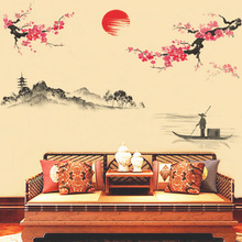 traditional chinese beautiful plum flower wall stikers for decoration bedroom art mural stickers adhesive decals