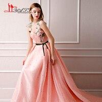 Новое поступление 2018 Винтаж арабский Формальное длинное вечернее платье для выпускного вечера Длинные 3D кружевными рукавами розовый перси