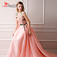 New Arrival 2018 Vintage Arabic Formal Long Evening Prom Dress Long 3D Lace Sleeves Peach Pink Pearls Sexy Party Gown