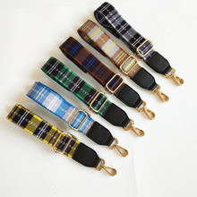 цена на New Canvas Adjustable Women Bag Strap Trendy Stripe Design Gold Buckle Lady Shoulder Straps Easy Matching Plaid Style Bag Belts