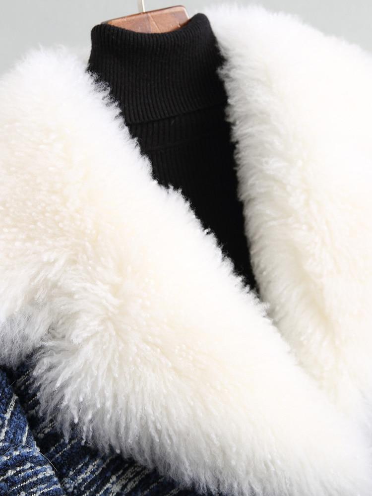 Bleu Hiver Tussah Avec De Ayunsue Vestes 18018 Femmes Wyq1791 Tweed Chaud Manteau Grand Soie Agneau Pour Naturel Parka 2018 Col Remplissage Fourrure 1w5wnZqF