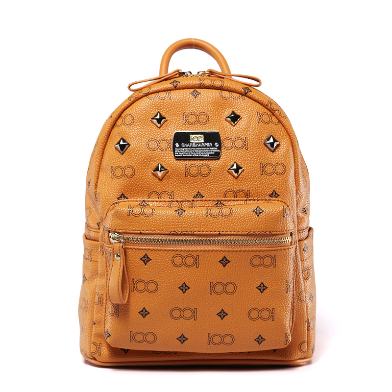 starbags 2018 new korean style punk style rivet and print retro tide man and women pu leather backpacks schoolbags retro style strapless rose and figure print corset for women