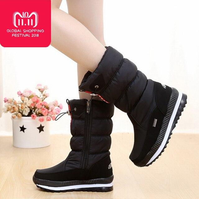 Của phụ nữ khởi động 2018 giày mùa đông dày sang trọng không-trượt tuyết không thấm nước khởi động phụ nữ khởi động mùa đông botas mujer đối với -40 độ
