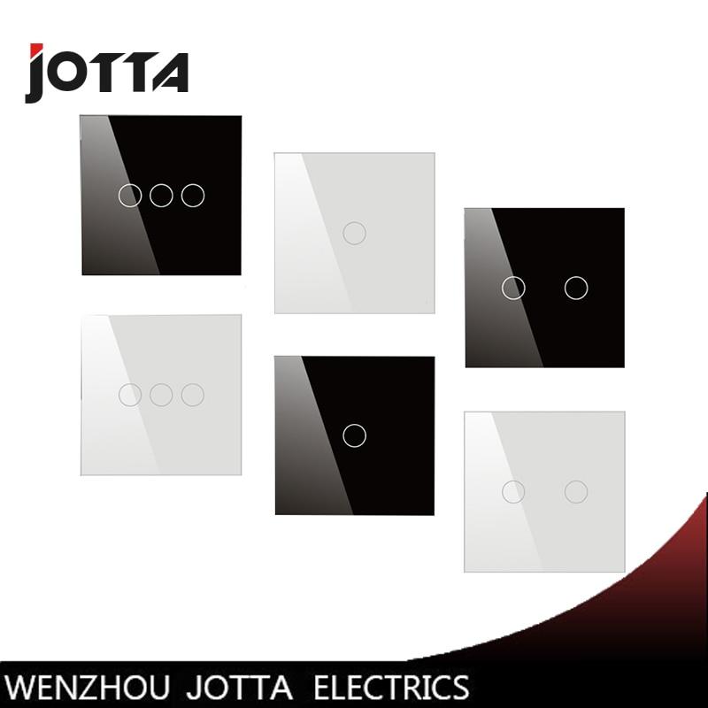 Interruptor de toque, preto/Branco Pérola De Vidro Cristal Interruptor Do Painel, Interruptor de parede, padrão do REINO UNIDO, de Toque Digital Interruptor de Luz