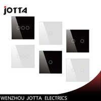 Interruptor táctil, interruptor de Panel de cristal de perla Blanco/Negro, interruptor de pared, estándar británico, interruptor de luz táctil Digital