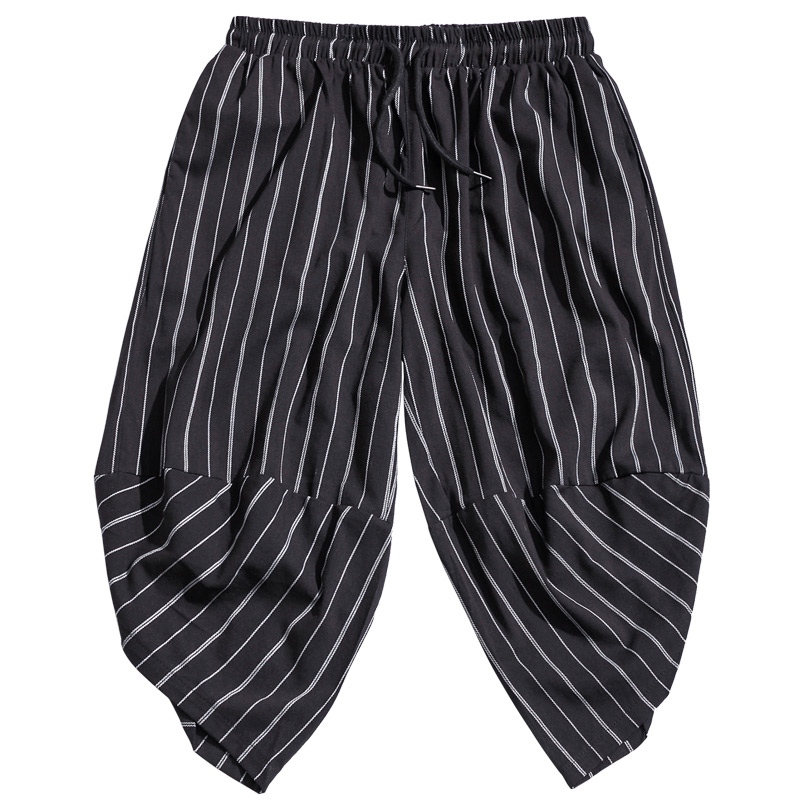 Trousers Men Pants Elastic-Waist Stripe Male Casual Calf Hip-Hop 5XL Big Length Bloomers