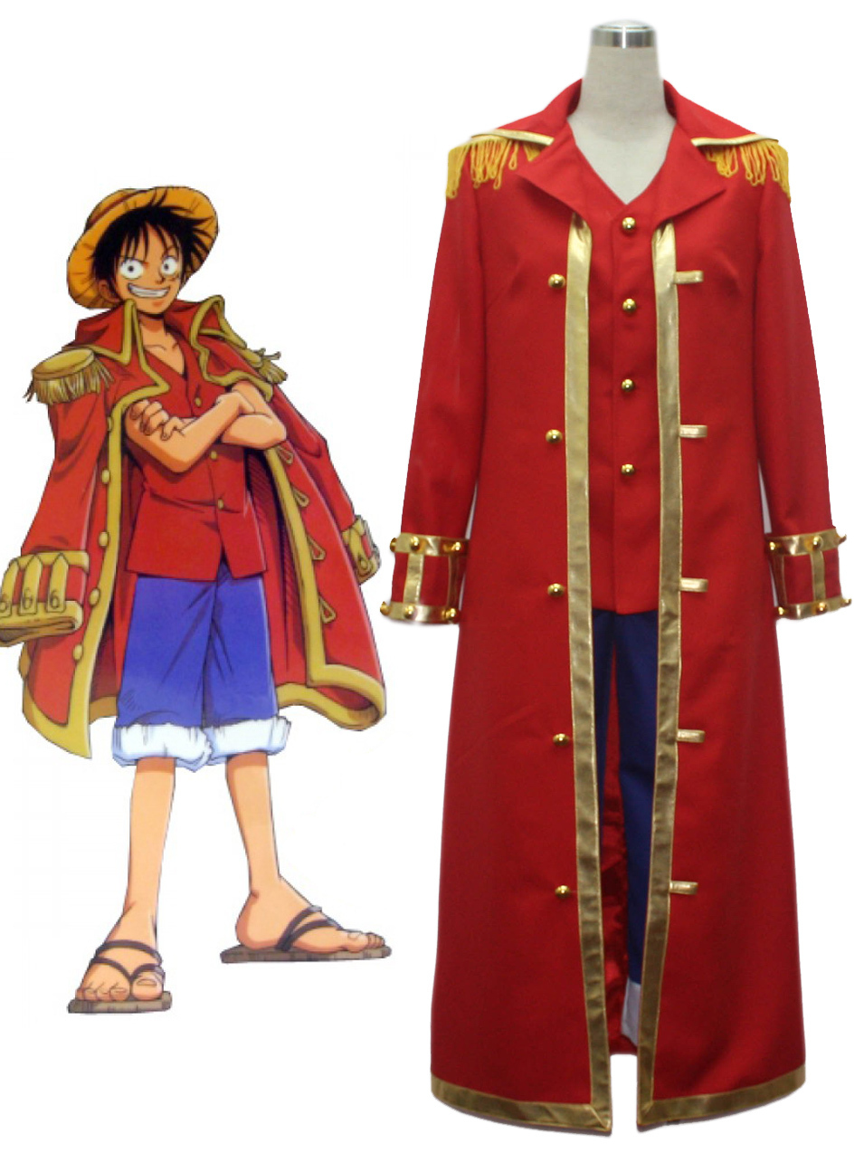 Free Shipping One Piece Monkey.D.Luffy Red Captain Uniform Anime Cosplay Costume
