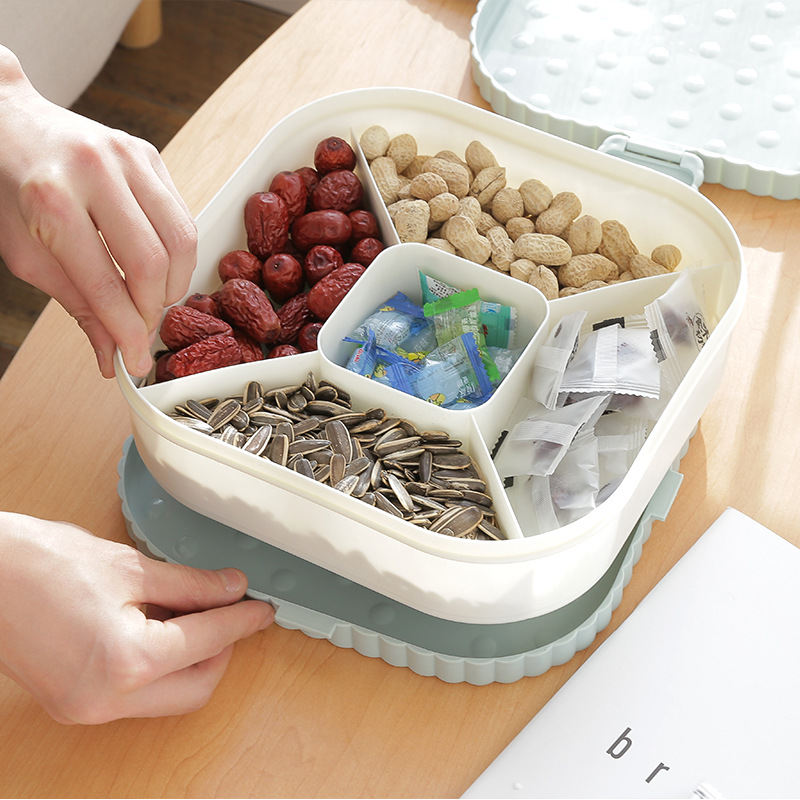 Plastic 5 Grid Covered Dried Fruit Storage Boxes Home Large Melon Seeds Box Snack Storage Box Creative House Products Organizers
