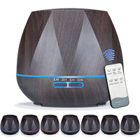 550ml Wood Grain Remote Mist Humidifier Ultrasonic Aroma Essential Oil Diffuser For Home Office Bedroom Living