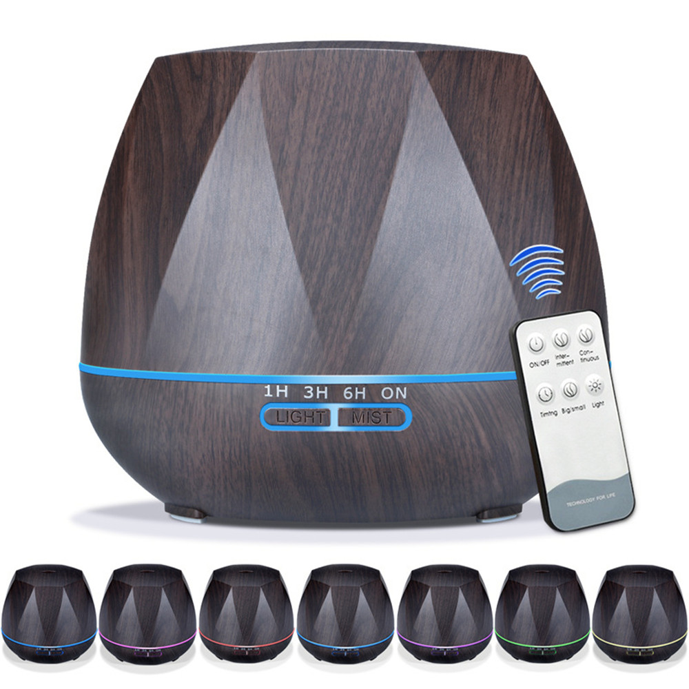 550ml Wood Grain Remote Mist Humidifier Ultrasonic Aroma Essential Oil Diffuser for Home Office Bedroom Living Room Yoga Spa 550ml remote control air humidifier aroma essential oil diffuser wood grain ultrasonic cool mist humidifier for office home