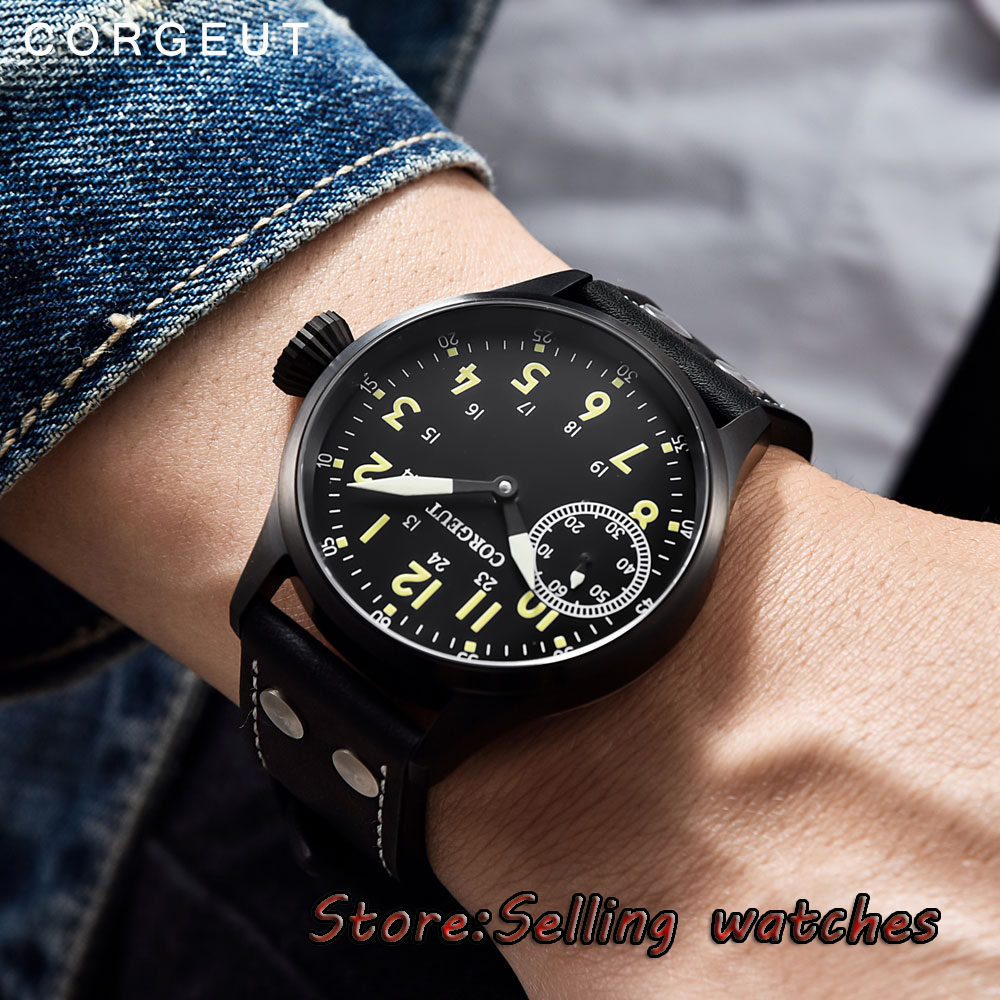 44mm corgeut black sterile dial PVD case Sapphire Glass hand winding mens Watch44mm corgeut black sterile dial PVD case Sapphire Glass hand winding mens Watch