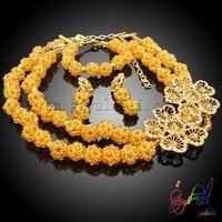 Beads africani Parure di Gioielli Da Sposa Oro Collana di Cristallo Set Partito di Modo Delle Donne Da Sposa Braccialetto Anello Orecchini Accessori