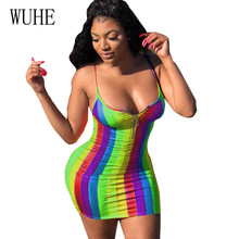 WUHE Plus Size XXL Sexy Rainbow Vertical Striped Spaghetti Strap Bag Hip Dress Female Sleeveless Hollow Out Printed Short