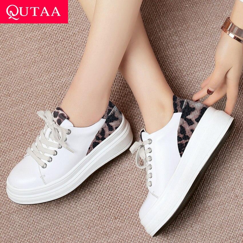 QUTAA 2020 Women Pumps Wedges Heel Women Shoes Platform All Match Platform Casual Cow Leather pu