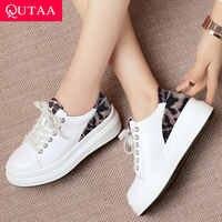 QUTAA 2020 女性はヒールの女性の靴プラットフォームすべてマッチプラットフォームカジュアル牛革 + pu サイズパンプス 34-42