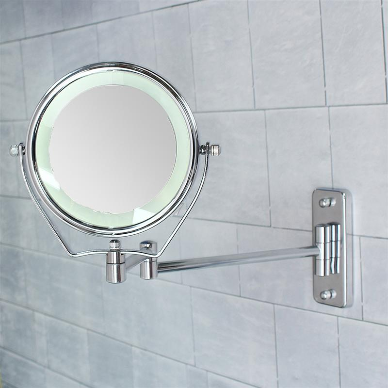 6 Inch Double Side 6 Led Light Illuminated 7X Magnifying Mirrors Makeup Mirrors Bathroom Shower Cosmetic