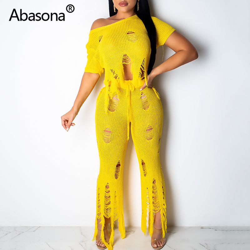 Abasona Beggar Ripped Up Beach Pant Set Knitted Sweater Sexy Rompers Womens   Jumpsuit   Hollow Out Tassels Plus Size Women Clothing