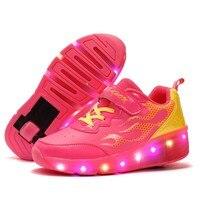 Eur 28 43 Children Tenis LED Sneakers Single Wheels Flame Buty Led Luminous Boys Girls Toddler