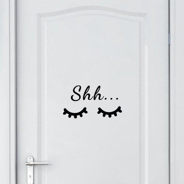 Shh Quote Sleep Eyelash Art Wall Decal Sticker Vinyl Mural for Kids Room Playroom Decoration