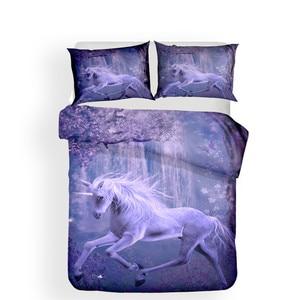Image 2 - طقم سرير ثلاثية الأبعاد لحاف مطبوع طقم سرير يونيكورن المنسوجات المنزلية للكبار نابض بالحياة المفارش مع المخدة # DJS08