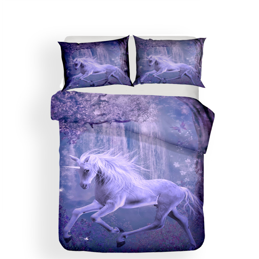 Image 2 - Bedding Set 3D Printed Duvet Cover Bed Set Unicorn Home Textiles for Adults Lifelike Bedclothes with Pillowcase #DJS08-in Bedding Sets from Home & Garden