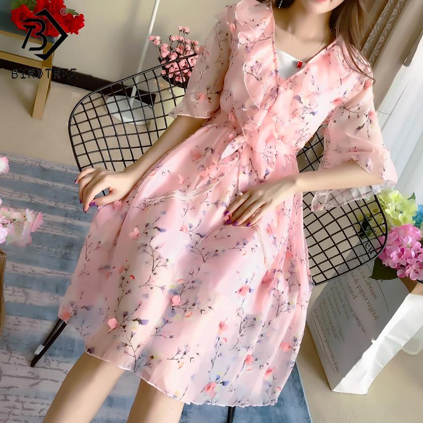 2018 Summer New Arrival Sweet Women Floral Dresses Print Long Sexy V Collar Sweet Flare Sleeve Chiffon Slim Elegance Hot D85656L