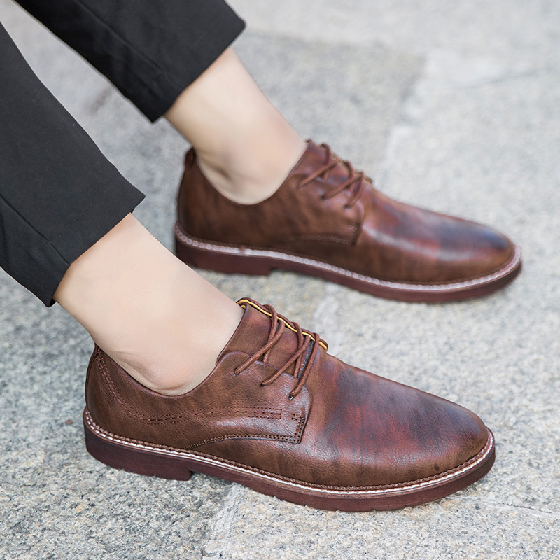 Amarillo brown Pu 39 Hombre Tamaño Primavera Zapatos Otoño 2018 44 Moda Cómodos Negocios Black Casual 2 Negro Simple Luz Transpirable Nueva wFqxTXR6O