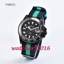 Fashion 40mm Parnis black dial PVD case ceramic bezel luminous markers GMT sapphire glass Automatic movement Men's Watch