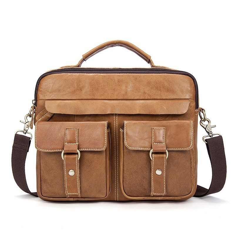 Business Men Briefcase Cow Leather 12 Inch Laptop Messenger Bag Male Bag Shoulder Bags For IPAD Tablet PC Bandolera Bolso Hombre