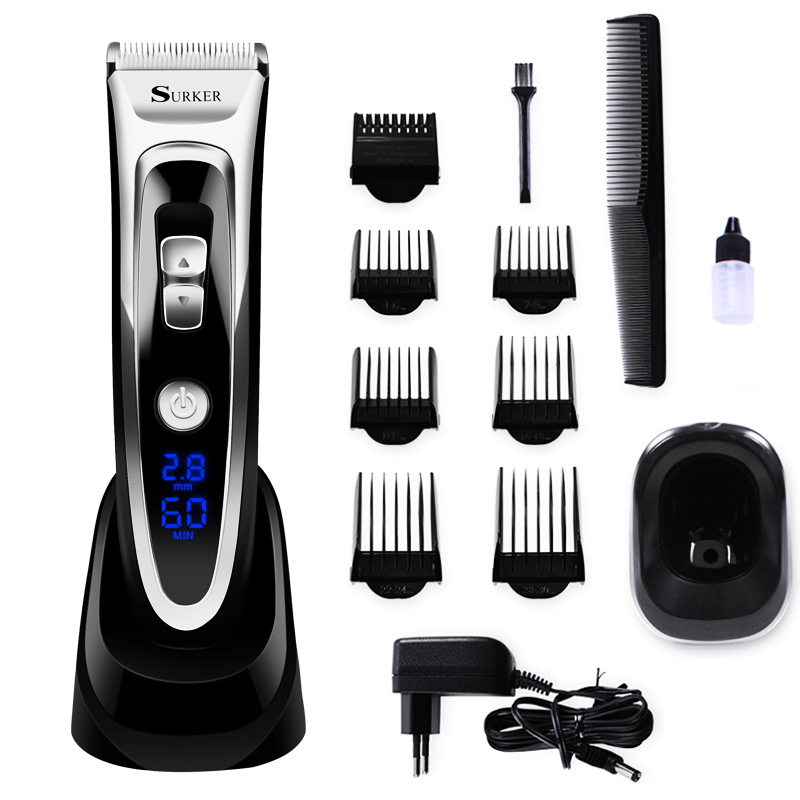 Professional Digital Hair Trimmer Rechargeable Electric Hair Clipper Men's Child hair clipper Adjustable Ceramic Blade image