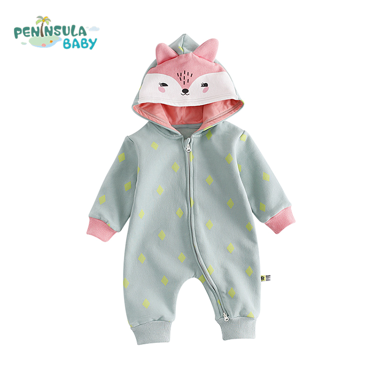 Autumn Toddler Cotton Hooded Baby Rompers Boys Girls Long Sleeve Cartoon Animals Fox Infant Jumpsuit Winter Warm Baby Clothes infant toddler baby kids boys girls pocket jumpsuit long sleeve rompers hats kids warm outfits set 0 24m
