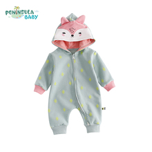 Фотография Autumn Toddler Cotton Hooded Baby Rompers Boys Girls Long Sleeve Cartoon Animals Fox Infant Jumpsuit Winter Warm Baby Clothes