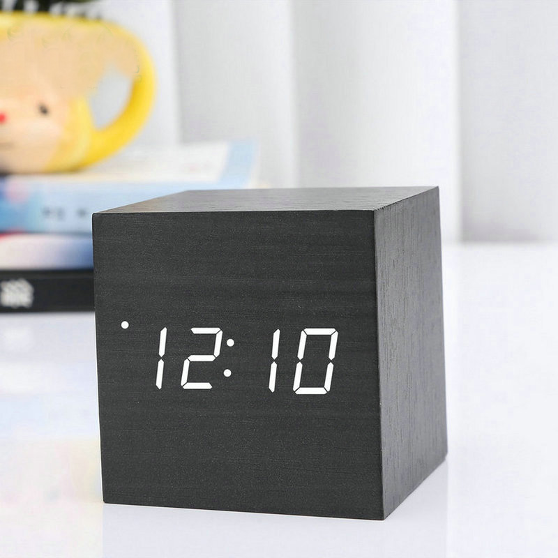 New Modern Wooden Wood Digital LED Desk Alarm Clock Thermometer Timer +USB Cable