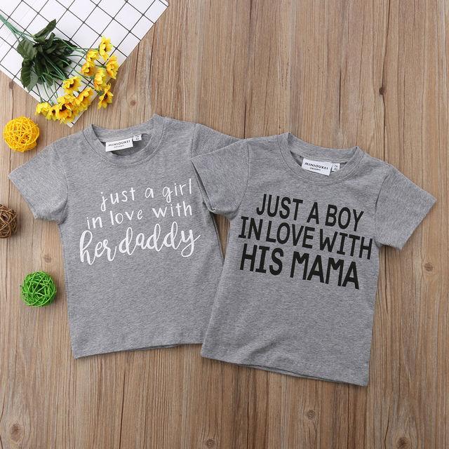 Niños bebé niño amor papá mamá Tops camisetas gráficas ropa verano ... 956defd30d7c