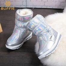 Новые Зимней моды женщин сапоги смешанные натуральной шерсти женщин теплые сапоги водонепроницаемый густой мех размер 27 до 41 серебряных леди ботинки снега