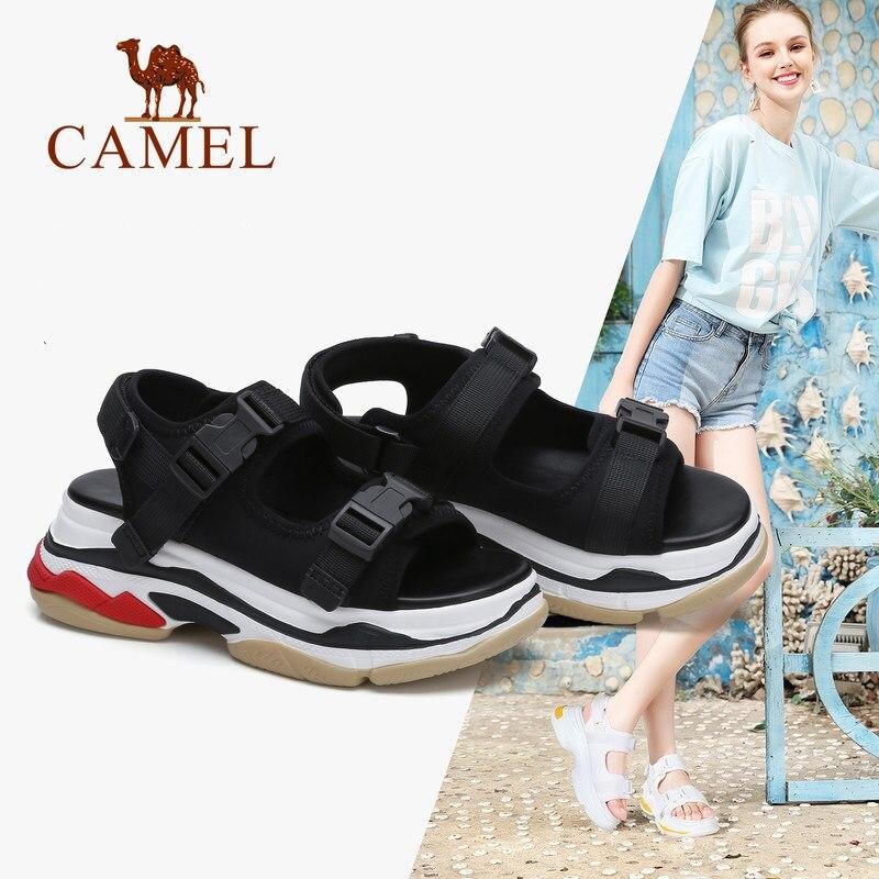 CHAMEAU Occasionnels Sandales Femmes 2018 Été de Nouvelles Cales Sandales Mode High Rise Boucle Plat Sauvage Respirant Chaussures Sapato Feminino
