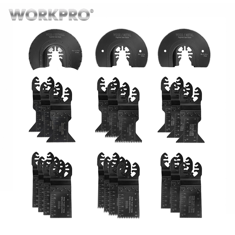 WORKPRO 23PC Multi Oscillating Saw Blade for Metal/wood Quick Release Saw Blades Set CRV BladesWORKPRO 23PC Multi Oscillating Saw Blade for Metal/wood Quick Release Saw Blades Set CRV Blades