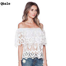Qbale Lace Tops Women 2017 Summer Vogue Ladies Cute Hollow Out tee shirt femme Ruflle off the shoulder tops for women