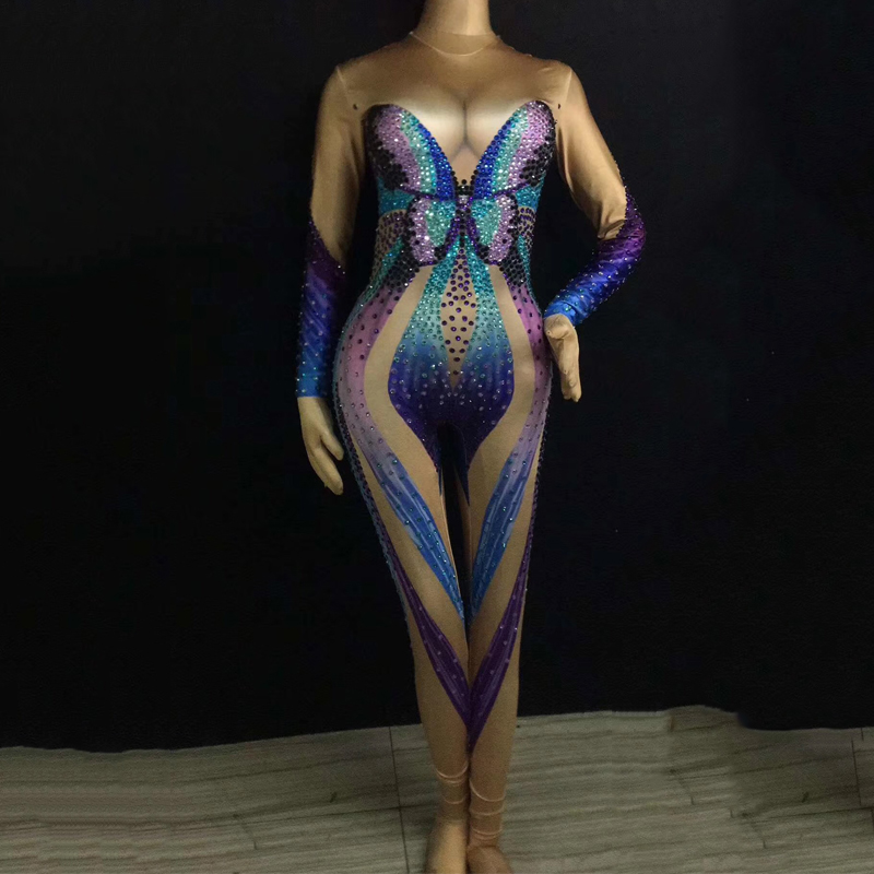 bf4b232dd2 Mulitcolor Crystals Jumpsuit Women Celebrate Prom Butterfly Print Bodysuit  Costume Stage Wear Singer Rhinestones Outfit DJ355-in Chinese Folk Dance  from ...