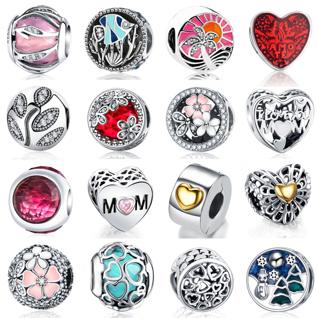 925 Sterling Silver Multi Style Love Heart Flower Zircon Charms Fit Pandora Original Bracelets Jewelry for Mom Mother's Day