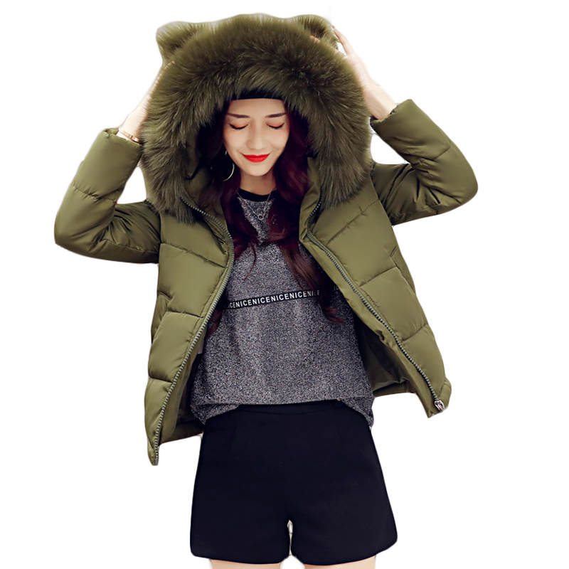 Women Winter Jacket 2018 Girls Cute Short Cocoon Coat Female Warm Ear Large Fur Hooded Thick Padded Jacket Outwear   Parkas   D046