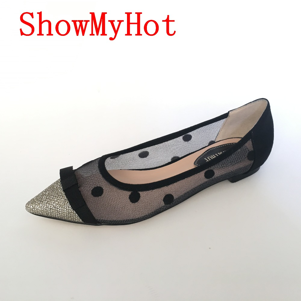 ShowMyHot Fashion Women lace polka dot Shoes Low Breathable Women Solid Color Flat Shoes Casual black point toe slip on Shoes-in Women's Flats from Shoes    1