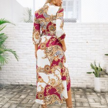 Women Dress Fashion V-Neck Leisure Three Quarter Sleeved Summer Evening Party Dress Printed Loose Lone Dress Women Mid-Calf