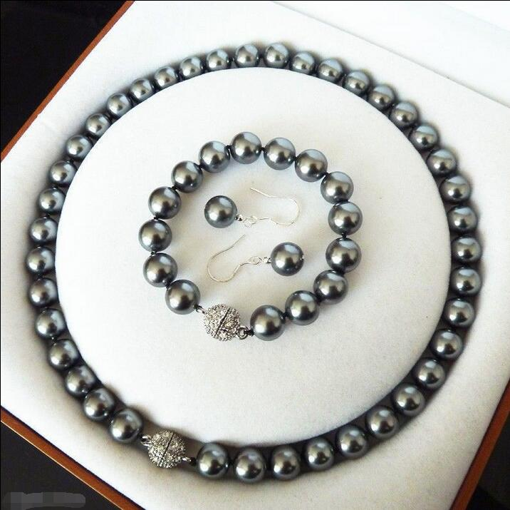 Wholesale price 16new ^^^^AAA+ 10mm Black Shell Pearl 18KWGP Crystal Clasp Earrings Bracelet Necklace Set classical malachite green round shell simulated pearl abacus crystal 7 rows necklace earrings women ceremony jewelry set b1303